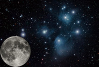 The Moon Compared to the Pleiades star cluster