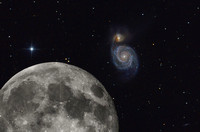 The Moon Compared to the Whirlpool Galaxy